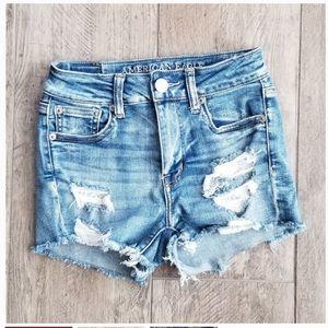 American Eagle Distressed Hi-Rise shorts